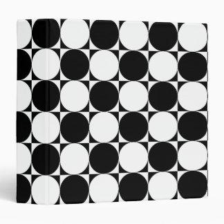 Chic Black White Seventies Circles Squares Pattern Vinyl Binder
