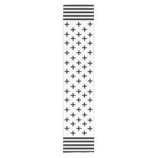 Chic black & white Swiss cross with stripes border Short Table Runner