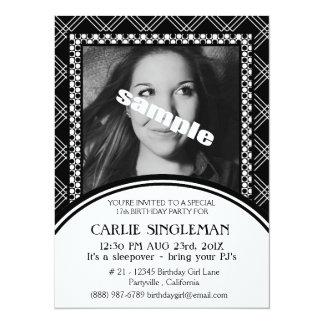 "Chic Black White Teen Tween Birthday Party 5.5"" X 7.5"" Invitation Card"