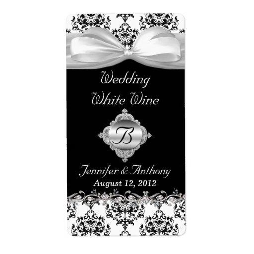 Chic Black & White Wedding Mini Wine Labels