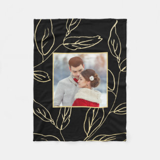 Chic Black with Gold Color Botanical Add Photo Fleece Blanket