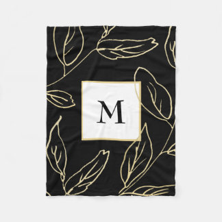 Chic Black with Gold Color Botanical and Monogram Fleece Blanket