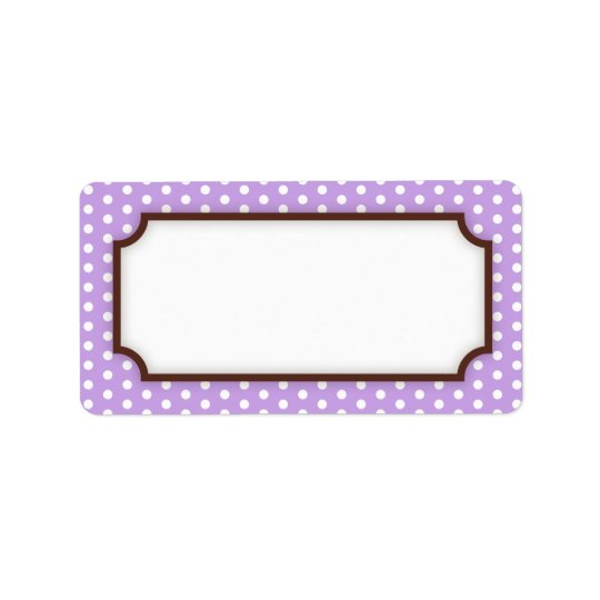 Chic blank purple violet polka dot dots pattern label