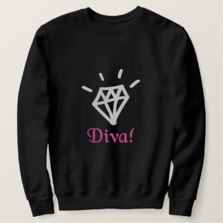 chic bling diamond diva embroidered embroidered sweatshirt