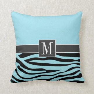 Chic Blizzard Blue Zebra Animal Print Throw Pillow