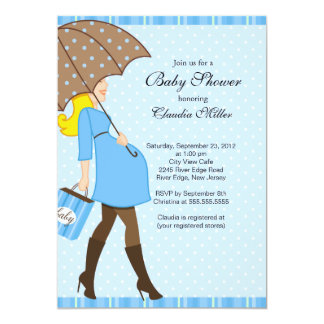 Chic Blonde Pregnant Mom Baby Shower Card