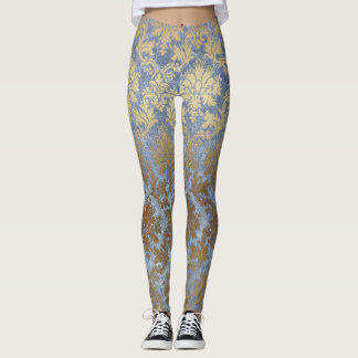 Chic Blue and Gold Damask Leggings