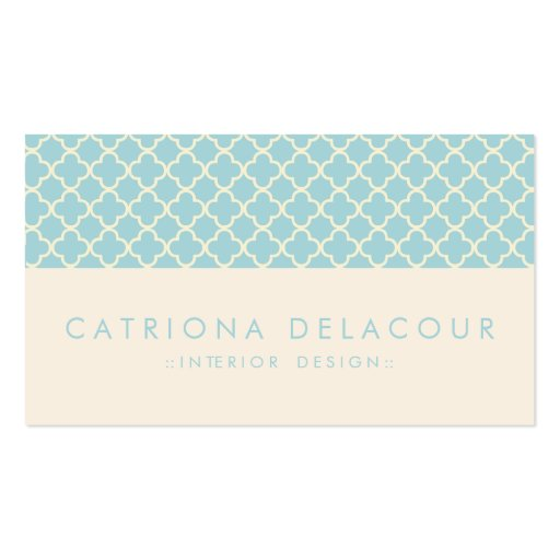 Chic Blue and Ivory Moroccan Pattern Business Card