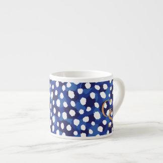 Chic blue and white cheetah print monogram espresso cup