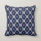 Chic blue and white ikat diamond pattern throw pillow