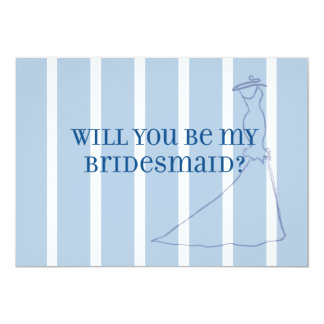 Chic Blue and White Stripe Bridesmaid Invite
