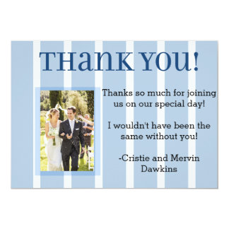 "Chic Blue and White Stripe Wedding Thank You 5"" X 7"" Invitation Card"