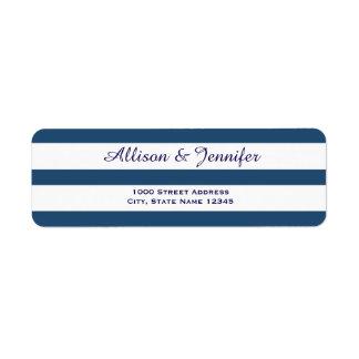 Chic Blue and White Striped Address Return Address Label
