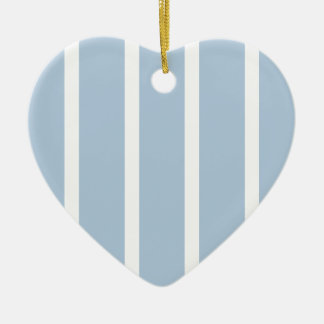 Chic Blue and White Stripes! Ceramic Heart Ornament