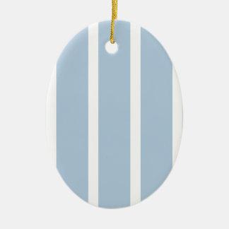 Chic Blue and White Stripes! Ceramic Oval Ornament
