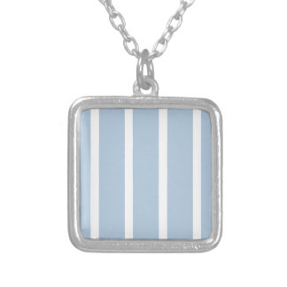 Chic Blue and White Stripes! Silver Plated Necklace