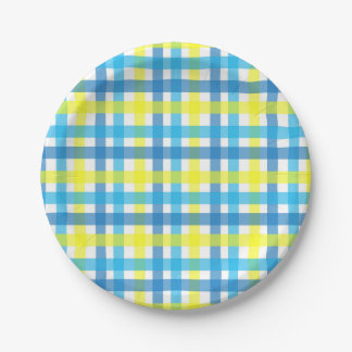 Chic blue and yellow checks party paper plate