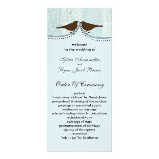 Chic blue bird cage, love birds wedding programs rack cards