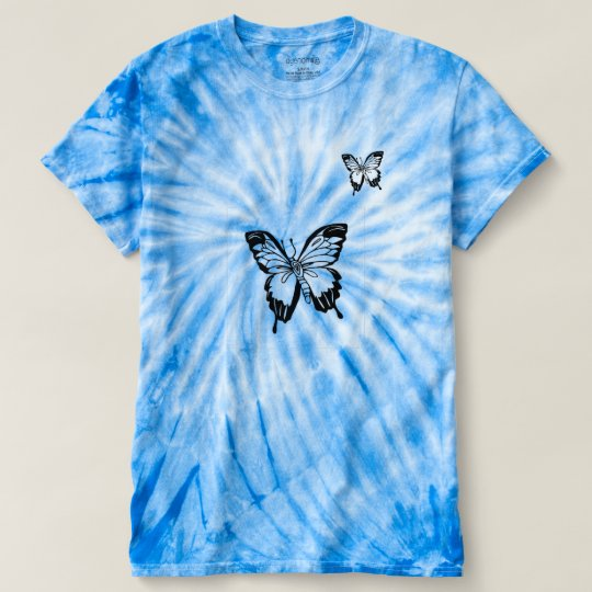 Chic Blue Butterfly Graphic Tie Dye Top For Women.