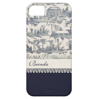 Chic Blue & Cream French Toiles Custom Case For The iPhone 5
