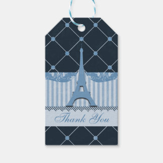 Chic Blue Eiffel Tower Thank You Gift Tags