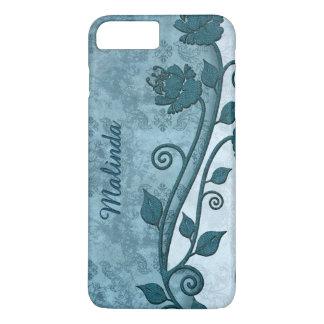 Chic Blue Floral Print iPhone 7 Plus Case