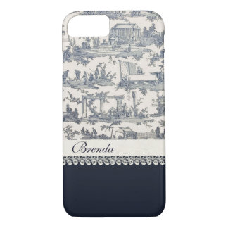 Chic Blue French Toiles Custom iPhone 7 Case