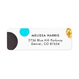 Chic Blue & Gold Polka Dot Return Address Labels