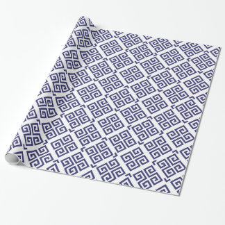 Chic blue greek key geometric patterns monogram wrapping paper