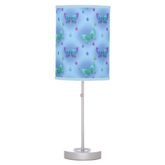Chic Blue & Green Butterflies & Jewels Images Table Lamp