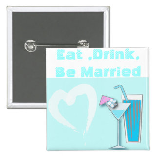 Chic Blue Hawaii Martini Wedding Favors 2 Inch Square Button