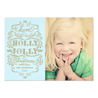 Chic Blue Holly Jolly Christmas Custom Photo Cards