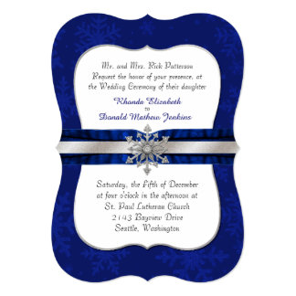 Chic Blue Jeweled Snowflake Wedding Invitation