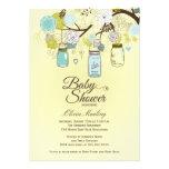Chic blue mason jar floral baby shower invitation