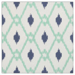 Chic blue mint ikat tribal diamond pattern fabric
