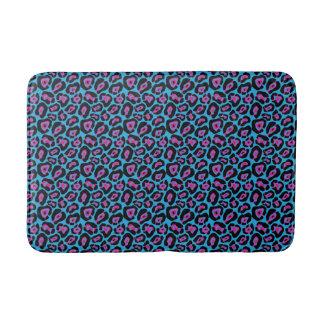Chic Blue & Pink Leopard Print Bath Mat