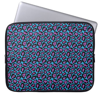 Chic Blue & Pink Leopard Print Laptop Sleeve