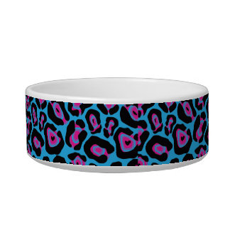 Chic Blue & Pink Leopard Print Monogram Name Dish