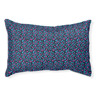Chic Blue & Pink Leopard Print Pattern Pet Bed