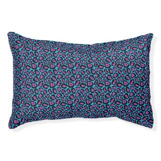 Chic Blue & Pink Leopard Print Pattern Pet Bed