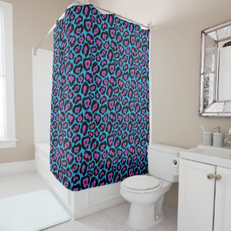 Chic Blue & Pink Leopard Print Shower Curtain