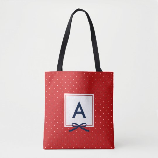 Chic Blue Ribbon Red Polka Dot Pattern Monogram Tote Bag