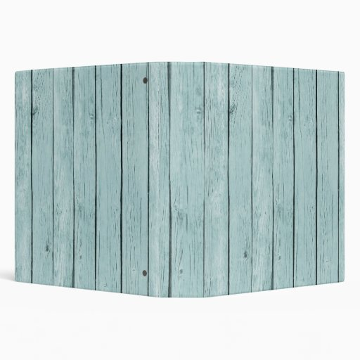 Chic Blue Rustic Wood 3 Ring Binders
