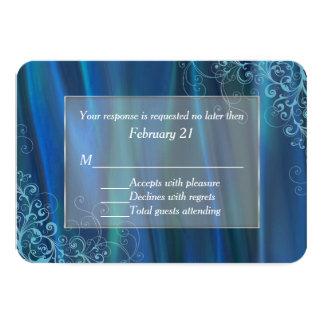 "Chic Blue Satin Wedding Response Card 3.5"" X 5"" Invitation Card"