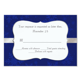 Chic Blue Snowflakes Wedding RSVP Card