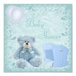Chic Blue Teddy & Crib Baby Boy Shower