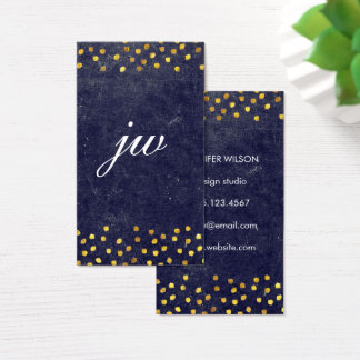 chic blue texture with golden spots monogram business card