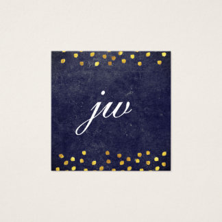 chic blue texture with golden spots monogram square business card