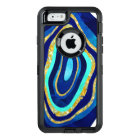 Chic blue turquoise gold agate watercolor pattern OtterBox defender iPhone case