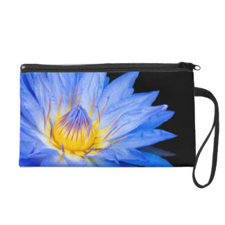 Chic Blue Water Lily Floral Wristlet